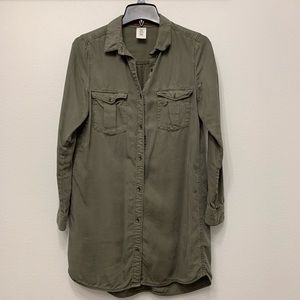 H&M &DENIM Collection Army Green Button-up Tunic